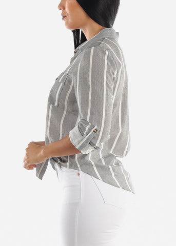 Grey Button Up Tie Front Shirt