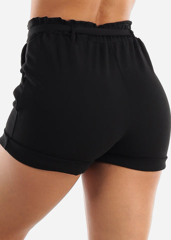 Image of High Rise Black Paperbag Shorts