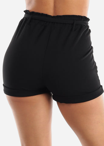 High Rise Black Paperbag Shorts