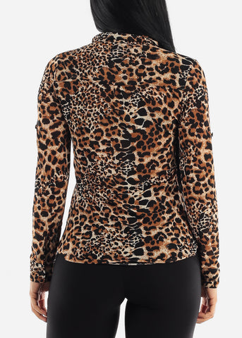 Image of Leopard Collar Top