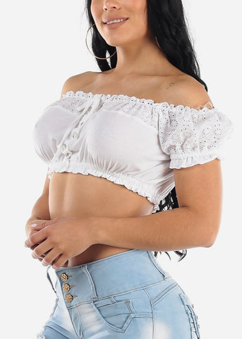 Image of White Crochet Off Shoulder Crop Top