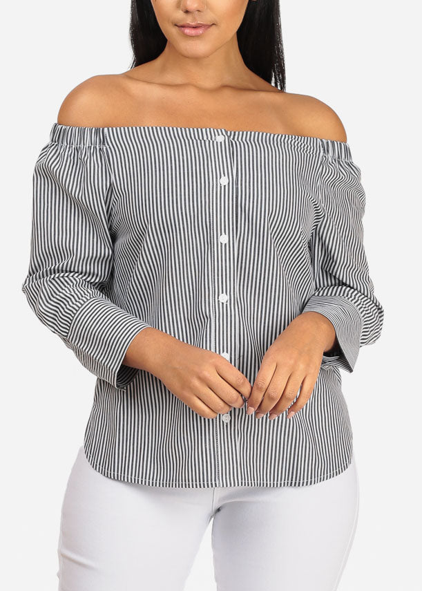 Stylish Off Shoulder 3/4 Sleeve Button Up Slit Sides Stripe Top