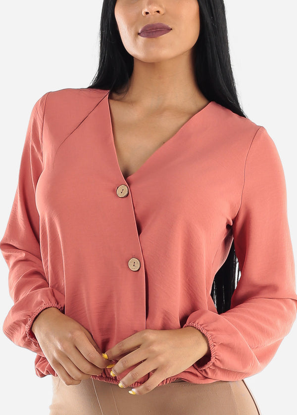 Asymmetrical Button Up Dark Coral Blouse