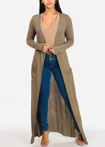 Image of Cute Open Front Olive Maxi Cardigan