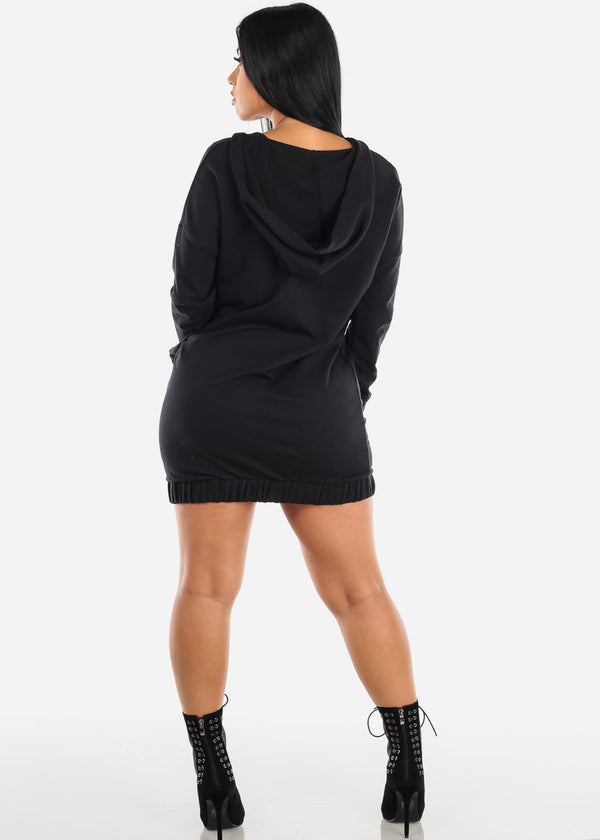 Asymmetric Front Zipper Black Sweater Dress