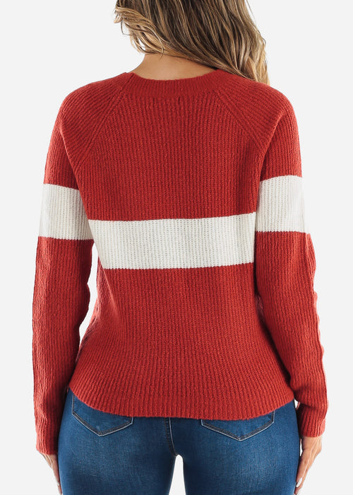 Rust Long Sleeve Colorblock Sweater