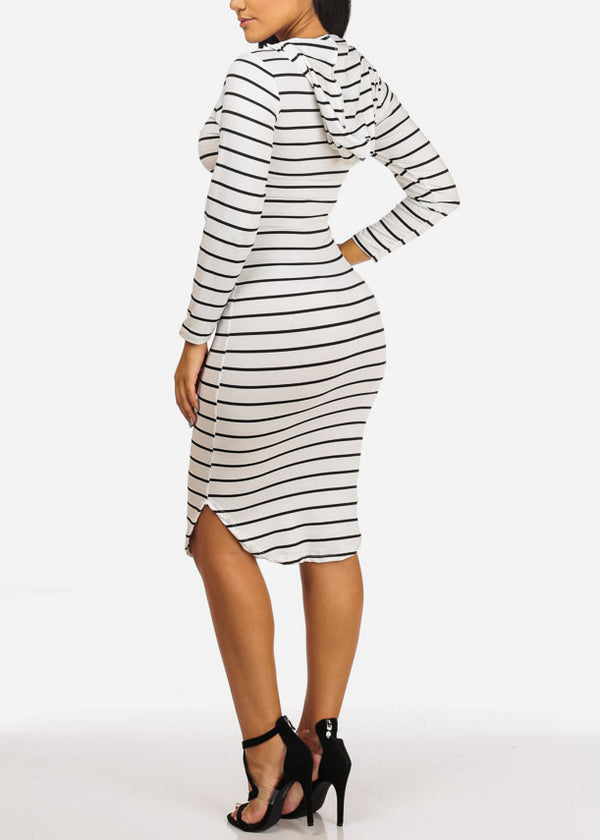 Casual White Stripe Bodycon Dress
