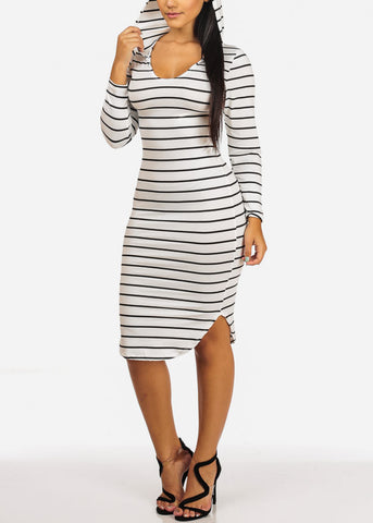 Image of Casual White Stripe Bodycon Dress