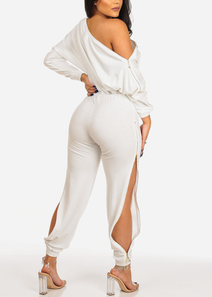 Trendy Zipper White Jumpsuit