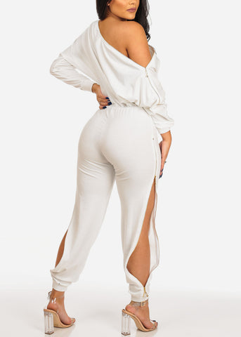 Image of Trendy Zipper White Jumpsuit