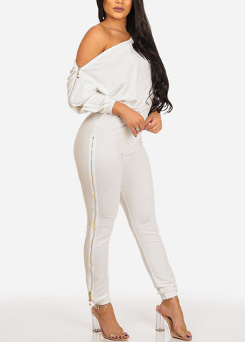 Image of Women's Junior Ladies Sexy Night Out Casual Day Party Clubwear White Jumpsuit With Zipper Shoulder And Belt Included