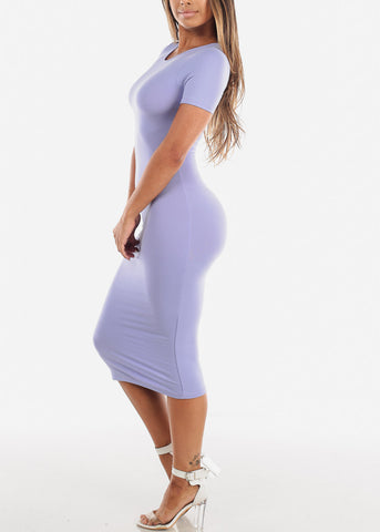 Women's Junior Ladies Cute Casual Trendy Short Sleeve Round Neckline Essential Bodycon Tight Fitted Below The Knee Light Purple Lavender Stretchy Dress