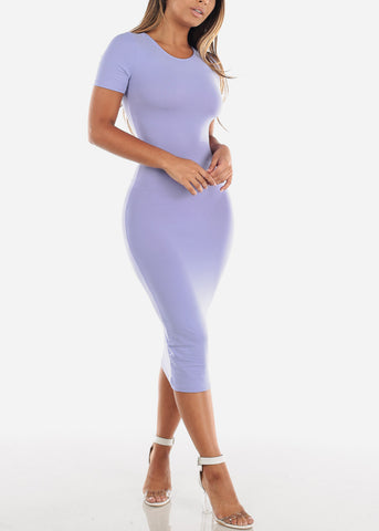 Light Purple Bodycon Midi Dress