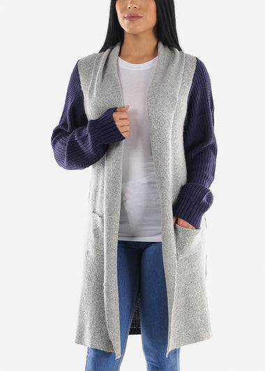 Two-Tone Navy Knitted Maxi Cardigan
