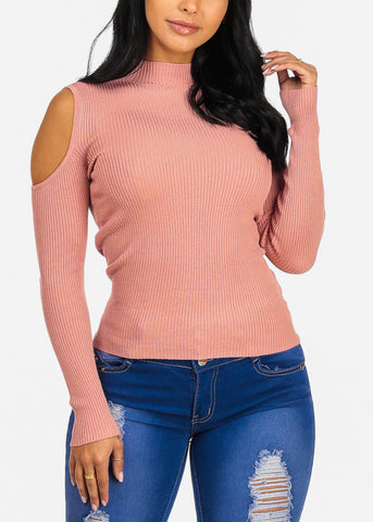 Pink Cold Shoulder Stylish Top