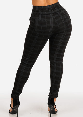 Image of Stylish High Rise Black Plaid Print Pants
