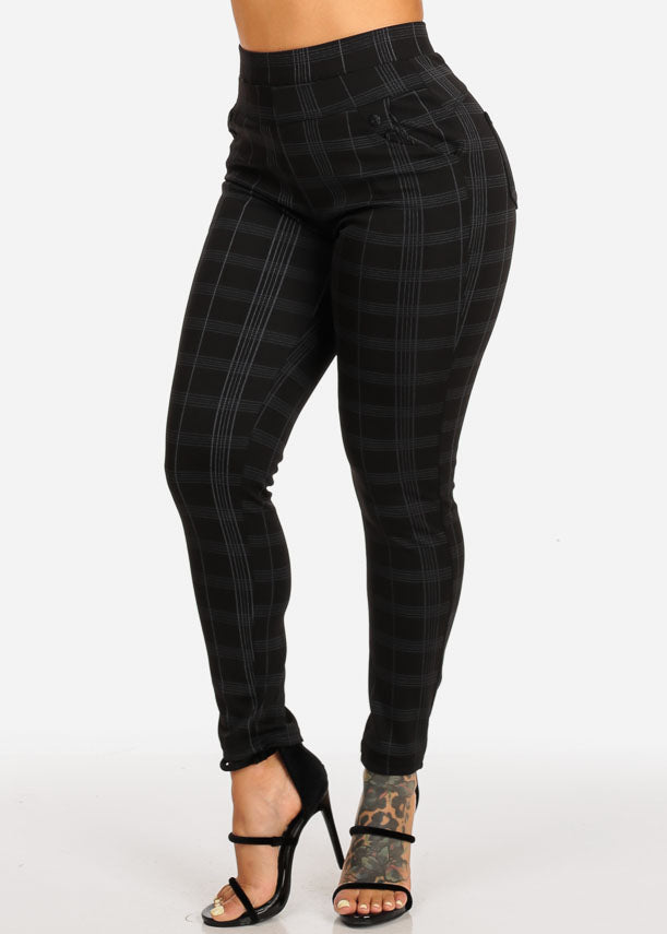 Stylish High Rise Black Plaid Print Pants