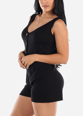 Half Button Up Black Ribbed Romper