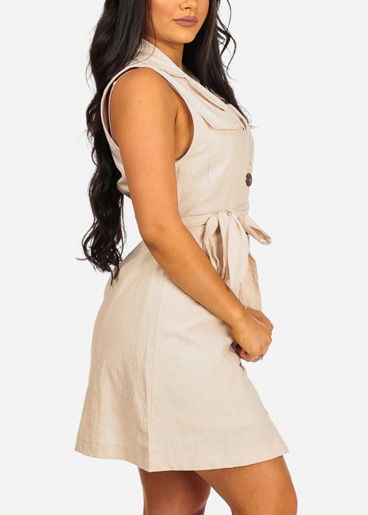 Sexy Button Up Beige Dress