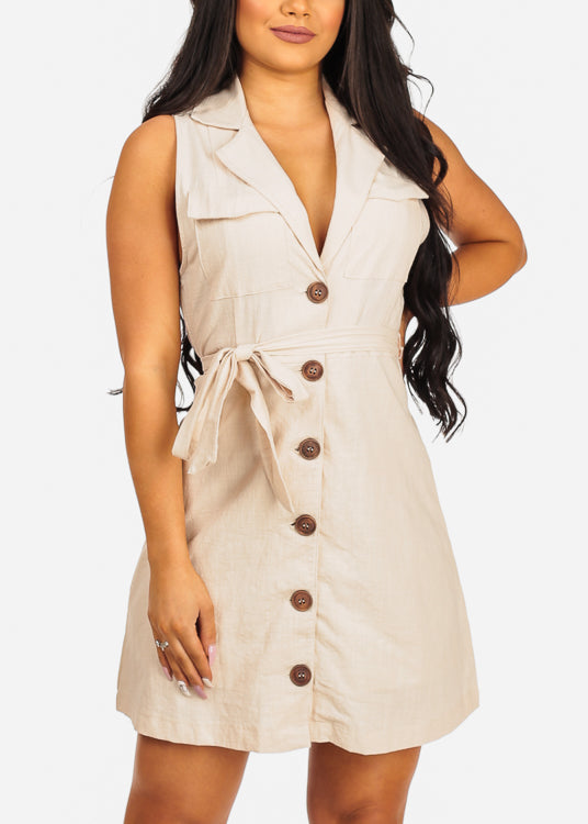 Sexy Sleeveless Button Up Lightweight Beige Coat Dress