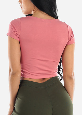 Square Neck Mauve Crop Top