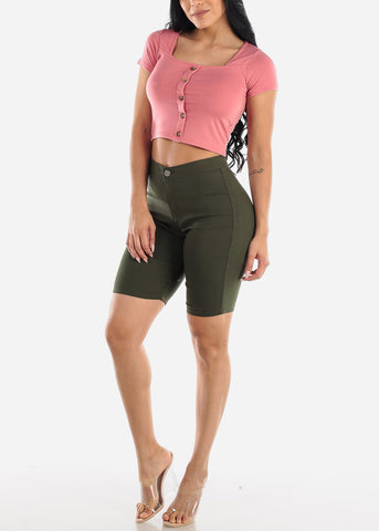 Image of Square Neck Mauve Crop Top
