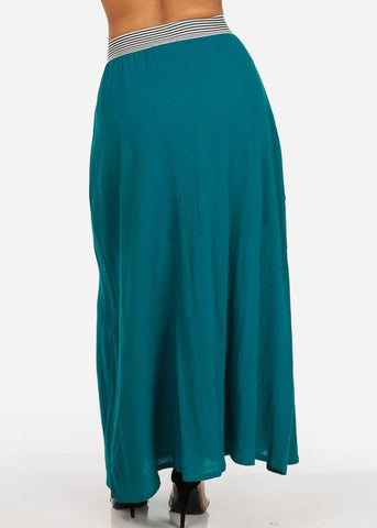 Image of Stylish Lightweight Linen Gauze Pleathed Elastic Waist Teal Long Maxi Skirt