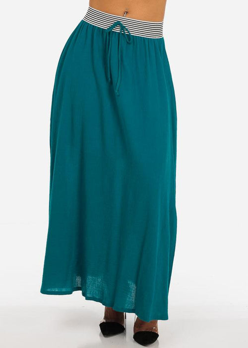 Stylish Lightweight Linen Gauze Pleathed Elastic Waist Teal Long Maxi Skirt