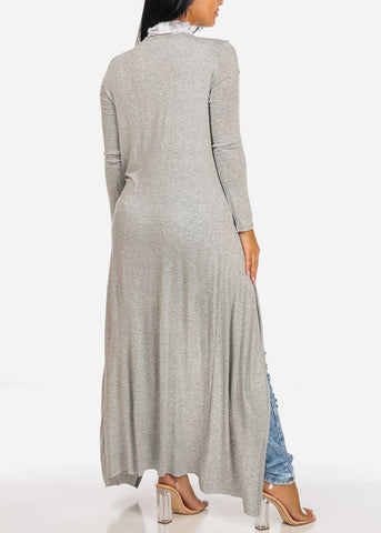 Cute Open Front Light Grey Maxi Cardigan