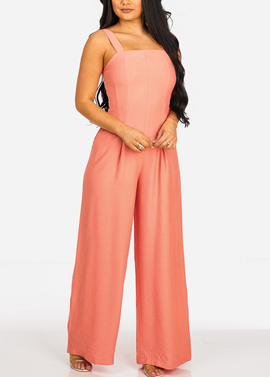 Trendy Sleeveless Lightweight Coral Jumpsuit