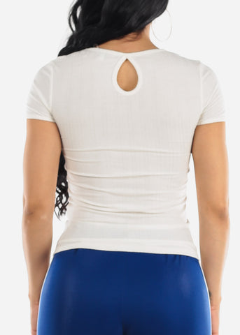 Back Keyhole White Top