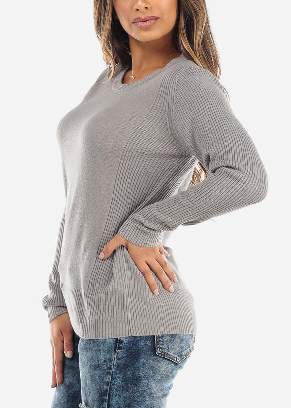 Grey Ribbed Sweater 414BGRY
