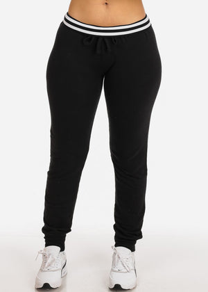 Low Rise Solid Black Jogger Pants