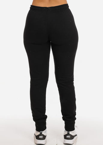 Image of Low Rise Solid Black Jogger Pants