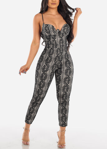 Sexy Stylish Cute Floral Lace Tight Fit Black Jumpsuit For Party Night Out Clubwear