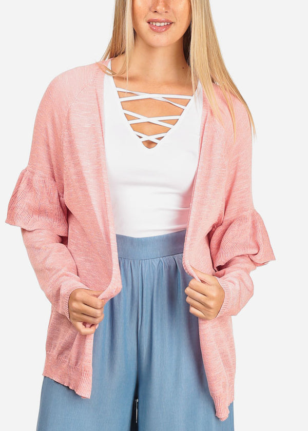 Women's Junior Stylish Casual Going Out Latest Trend Knitted Light Pink Cardigan