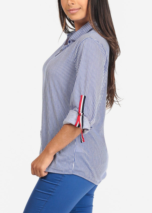 Blue Stripe Casual Button Up Shirt