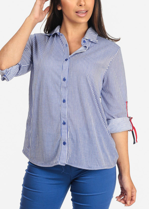 Women's Junior Ladies Dressy Blue And White Stripe 3/4 Sleeve Button Up Shirt
