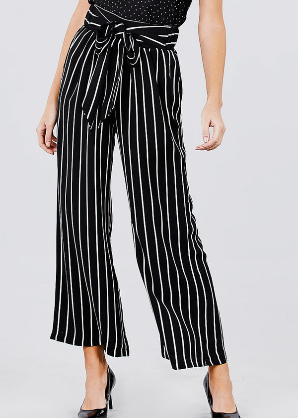 Stripe Woven Black Pants