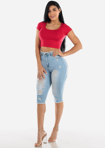 Short Sleeve Basic Red Crop Top