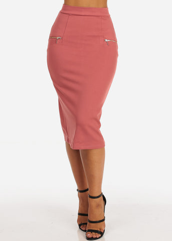 Image of High Rise Zipper Insets Mauve Pencil Skirt
