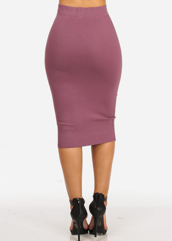 High Waisted Evening Plum Skirt