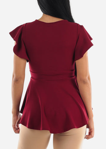 Round Neck Wine Peplum Top