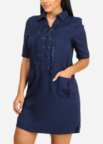 Image of Casual Navy Laced Up Dress