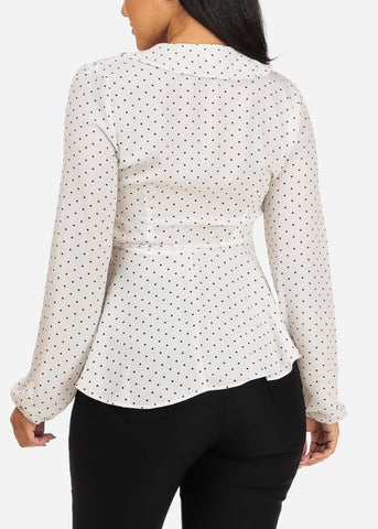 Chiffon Long Sleeve White Polka Dot Wrap Front V Neckline Stylish Top