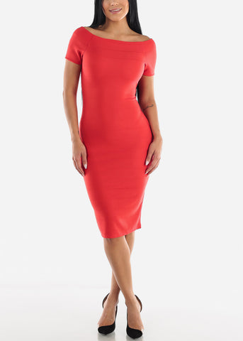 Image of Red Off Shoulder Dress