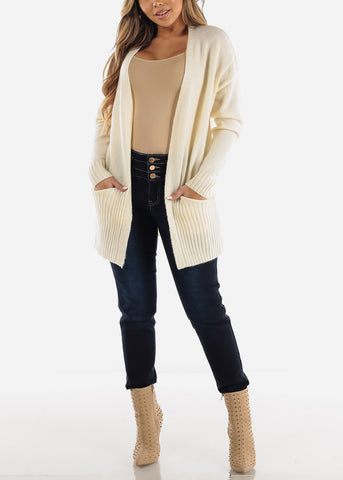 Image of Ivory Open Front Sweater Cardigan