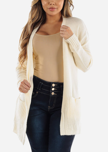 Ivory Open Front Sweater Cardigan