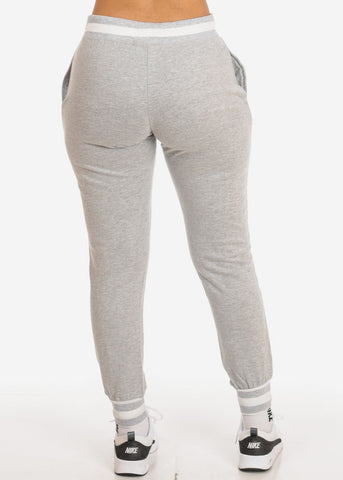 Image of Grey High Rise Stripe Detail Jogger Pants