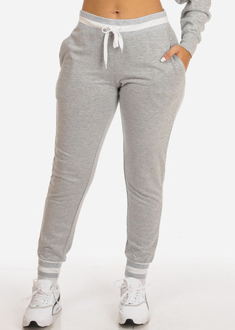 Grey High Rise Stripe Detail Jogger Pants